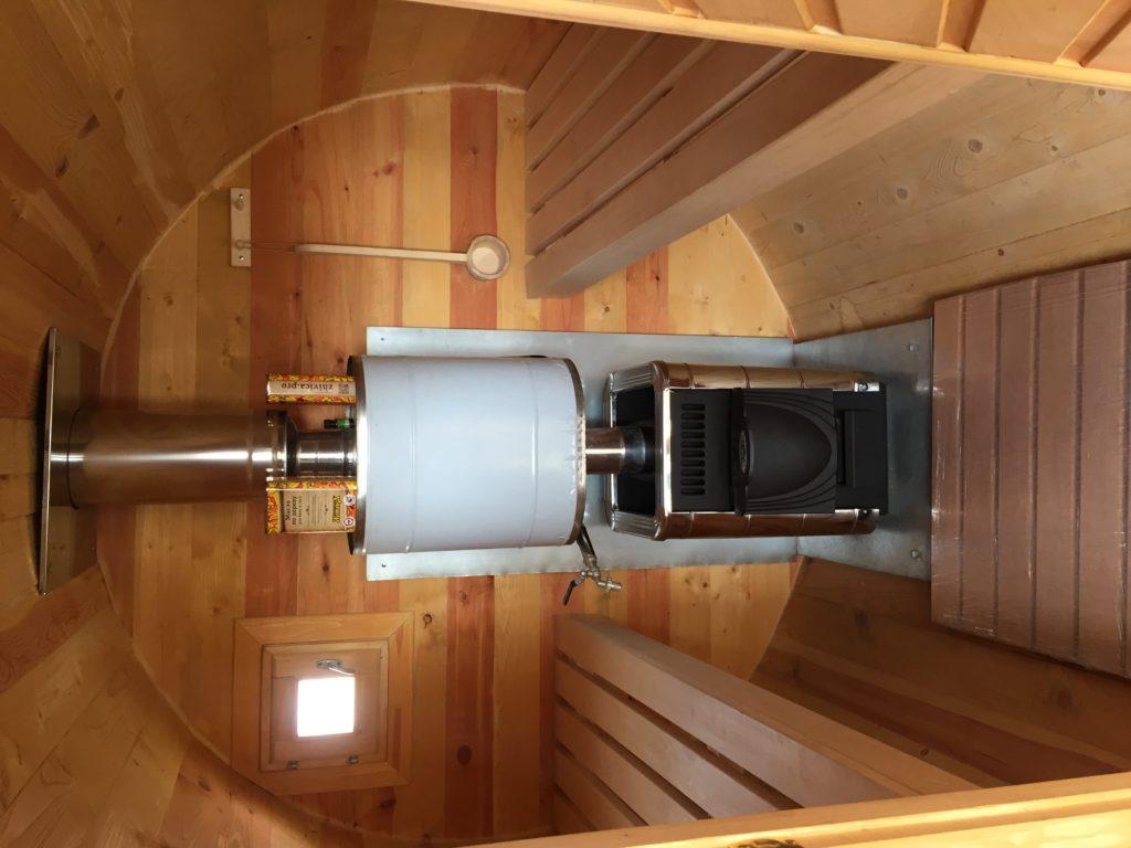 Баня бочка котел, фото внутри